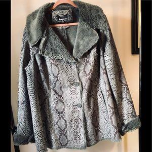 Dennis Basso Gray Snakeskin Coat Size 1X